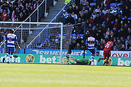 Southampton's Adam Lallana (20) scores his sides 2nd goal. Barclays Premier league, Reading v Southampton at the Madejski stadium in Reading on Saturday 6th April 2013. pic by Andrew Orchard, Andrew Orchard sports photography,