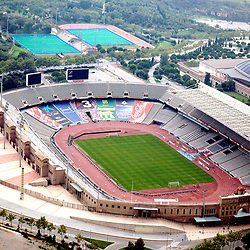 Aerial view of  Barcelona's Olympic Stadiums and Cathedral