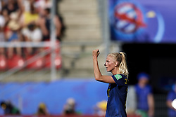 June 29, 2019 - Rennes, France - Sofia Jakobsson (Montpellier HSC) of Sweden celebrates after scoring her sides first goal during the 2019 FIFA Women's World Cup France Quarter Final match between Germany and Sweden at Roazhon Park on June 29, 2019 in Rennes, France. (Credit Image: © Jose Breton/NurPhoto via ZUMA Press)