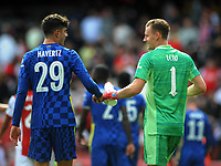 Football - 2021 / 2022 Season - Friendly - Arsenal v Chelsea - The Emerates  Stadium<br /> <br /> Kai Havertz of Chelsea shares a joke with fellow German player, Bernd Leno after scoring his first half goal, past him<br /> <br /> Credit : Colorsport / Andrew Cowie
