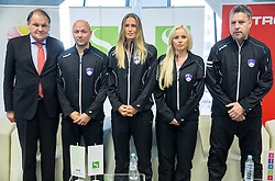 Mark Umberger, Andrej Krasevec, Polona Hercog, Tadeja Majeric and Zoran Kofol during press conference of Slovenian women Tennis team before Fed Cup tournament in Tallinn, Estonia, on January 28, 2015 in Kristalna palaca, Ljubljana, Slovenia. Photo by Vid Ponikvar / Sportida