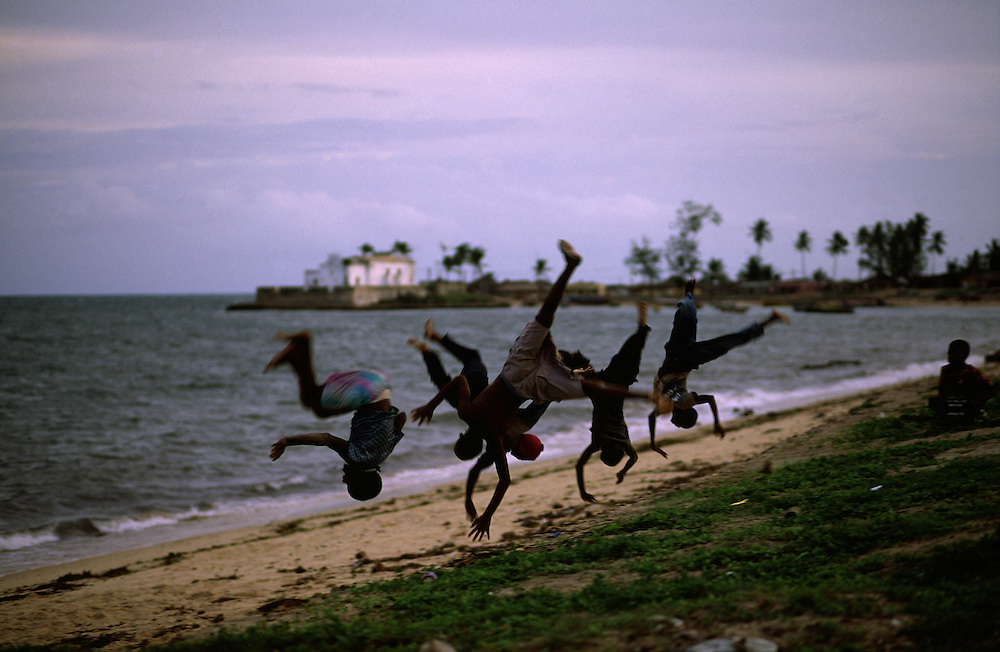 Children playing on the beach in Ilha de Mozambique