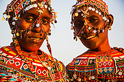 Samburu girls decorated with beaded headdresses and colorful beaded necklaces, Lake Turkana, Loiyangalani,Kenya, Africa