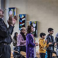 Nederland, Amsterdam, 31 januari 2016.<br /> <br /> Pakistaanse Christelijke dienst in de Protestantse Bethelkerk in Amsterdam.<br /> de Urdu-gemeente: een christelijke geloofsgemeenschap van Pakistaanse migranten. De leden wonen verspreid over het land. Iedere zondag wordt er zowel in Amsterdam als in Rotterdam een dienst gehouden.<br /> <br /> Pakistani Christian church service in the Bethelkerk in Amsterdam, the Netherlands. The Urdu community is a Christian religious community of Pakistani migrants. <br /> <br /> Foto: Jean-Pierre Jans