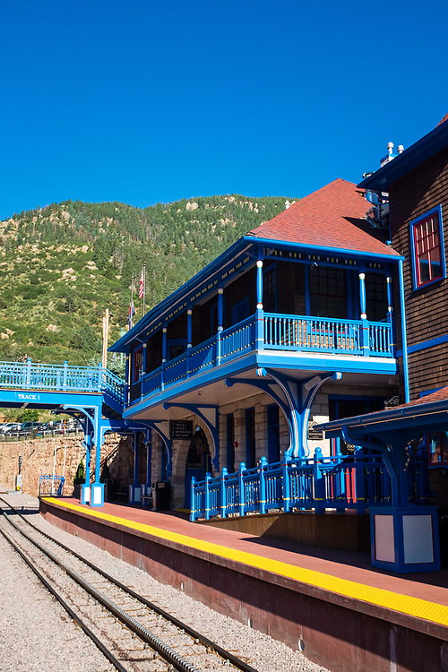 The Pikes Peak Cog Railway Station located in Manitou Springs Colorado, is the depot for the highest rack railway in the world.