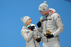 February 15, 2018 - Pyeongchang, South Korea - ALJONA SAVCHENKO and BRUNO MASSOT of Germany celebrate winning the gold medal in the Pair Skating Free Skating event in the PyeongChang Olympic games. (Credit Image: © Christopher Levy via ZUMA Wire)