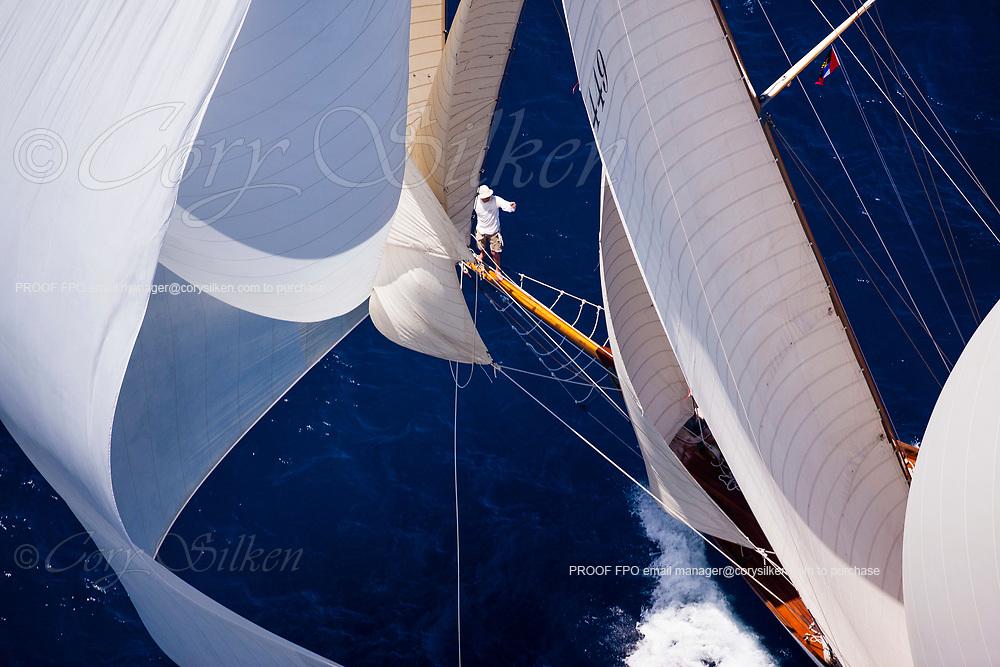 Eilean sailing in the Antigua Classic Yacht Regatta, Butterfly Race.