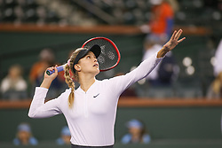 March 7, 2019 - Indian Wells, CA, U.S. - INDIAN WELLS, CA - MARCH 07: Eugenie Bouchard (CAN) hits an overhead during the BNP Paribas Open on March 7, 2019 at Indian Wells Tennis Garden in Indian Wells, CA. (Photo by George Walker/Icon Sportswire) (Credit Image: © George Walker/Icon SMI via ZUMA Press)