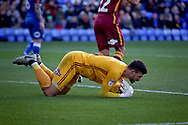 Bradford City goalkeeper Richard O'Donnell (1) grabs onto this through ball during the EFL Sky Bet League 1 match between Peterborough United and Bradford City at The Abax Stadium, Peterborough, England on 17 November 2018.