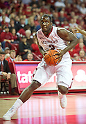 Nov 15, 2013; Fayetteville, Ar, USA; Arkansas Razorback forward Alandise Harris (2) drives toward the basket during the first half of a game against the Louisiana-Lafayette Ragin' Cajuns at Bud Walton Arena Arena. Arkansas defeated Louisiana-Lafayette 76-63.  Mandatory Credit: Beth Hall-USA TODAY Sports