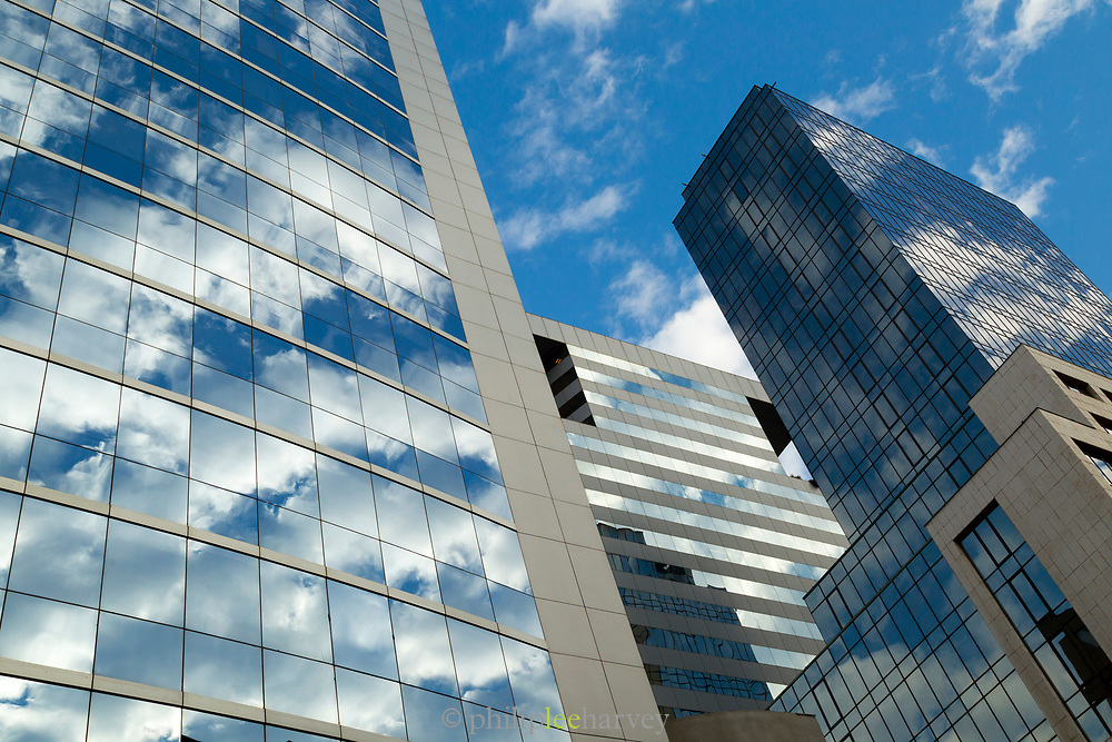 Low angle view of modern buildings, made of glass, Santiago, Chile
