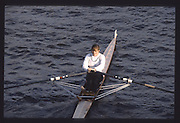 London. United Kingdom. D. FLEWEN 1990 Scullers Head of the River Race. River Thames, viewpoint Chiswick Bridge Saturday 07.04.1990<br /> <br /> [Mandatory Credit; Peter SPURRIER/Intersport Images] 19900407 Scullers Head, London Engl