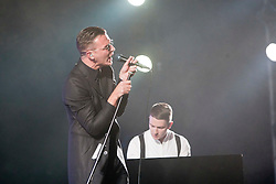 Hurts Theo Hutchcraft and Adam Anderson (white shirt) play the King Tut's Wah Wah Tent..T in the Park on Sunday 10th July 2011. T in the Park 2011 music festival takes place from 7-10th July 2011 in Balado, Fife, Scotland..©Pic : Michael Schofield.