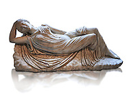 Ariadne sleeping a 2nd century AD Marble Roman statue from Italy. The girl is lying asleep on a rock and is a variation of the famous Sleeping Ariadne of the Vatican museum whose composition is reversed. in Greek mythology Ariadne was the daughter of Minos, King of Crete  and his queen Pasiphaë, daughter of Helios . When Thesius was sent to Crete to be sacrificed to the Minateur Ariadne fell in love at first sight, and helped him by giving him a sword and a ball of thread, so that he could find his way out of the Minotaur's labyrinth. She eloped with Theseus after he achieved his goal, and in most accounts of the myth, Theseus abandoned Ariadne sleeping on Naxos, and Dionysus rediscovered and wedded her. This Roman  Sculpture was inspired  by a Greek original of the 2nd century AD. inv MR 311 ( or Ma 340 ), Louvre Museum Paris .<br /> <br /> If you prefer to buy from our ALAMY STOCK LIBRARY page at https://www.alamy.com/portfolio/paul-williams-funkystock/greco-roman-sculptures.html- Type -    Louvre    - into LOWER SEARCH WITHIN GALLERY box - Refine search by adding a subject, place, background colour,etc.<br /> <br /> Visit our CLASSICAL WORLD HISTORIC SITES PHOTO COLLECTIONS for more photos to download or buy as wall art prints https://funkystock.photoshelter.com/gallery-collection/The-Romans-Art-Artefacts-Antiquities-Historic-Sites-Pictures-Images/C0000r2uLJJo9_s0c