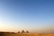 The pyramids of Giza seen from the desert, Cairo, Egypt