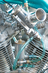 Martin Carlgren of Ringo Chop Shop in Gothenburg, Sweden built this 1947 SRM (Swedish Racing Motor) 1,000 cc chopper with a completely hand-fabricated engine based on an old Husqvarna Motorcycle design as an invited builder to Born Free 9. Saturday July 1, 2017. Photography ©2017 Markus Cuff for Michael Lichter.