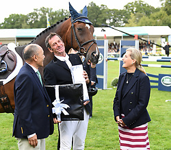 Lady Louise Windsor attends the Burghley Horse Trials at Burghley House, Stamford, Lincolnshire, UK, on the 8th September 2019. 08 Sep 2019 Pictured: Sophie, Countess of Wessex presents Eventing legend Sir Mark Todd and his horse NZB Campino, with New Zealand High Commissioner Jerry Mateparae, as he ends his career at Burghley Horse Trials at Burghley House, Stamford, Lincolnshire, UK, on the 8th September 2019. Photo credit: James Whatling / MEGA TheMegaAgency.com +1 888 505 6342