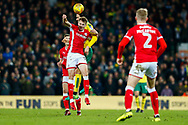 Norwich City midfielder Marco Vrancic (8) heads the ball  during the EFL Sky Bet Championship match between Norwich City and Barnsley at Carrow Road, Norwich, England on 18 November 2017. Photo by Phil Chaplin.