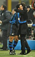 Javier Zanetti (Inter) festeggia la partita n. 519 in Serie A con la maglia dell'Inter eguagliando Beppe Bergomi abbracciaot da Leonardo<br /> Inter Bologna - Campionato di Seire A Tim 2010-2011<br /> Stadio Giuseppe Meazza, San Siro, Milano, 15/01/2011<br /> © Giorgio Perottino / Insidefoto