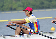 St Catherines, CANADA,  Women's Quadruple Sculls ROM W4X, stroke; Elisabeta LIPA - OLENIUC, . competing at the 1999 World Rowing Championships - Martindale Pond, Ontario. 08.1999..[Mandatory Credit; Peter Spurrier/Intersport-images] 1999 FISA. World Rowing Championships, St Catherines, CANADA