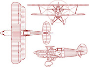 Schematic engineering blueprint of a Avia B-534 biplane as seen from the side the top and the front. This bi-plane was produced and made by Avia in Czechoslovakia from 1935 - 1940