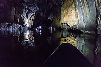 The Puerto Princesa Subterranean River National Park is a protected area north of Puerto Princesa, Palawan. It is also called Puerto Princesa Underground River. The City Government of Puerto Princesa has managed the National Park since 1992. The entrance to the subterranean river is controlled by local government with regulated boat rides from the nearest village Sabang. Geologists discovered that the underground river has a second floor and small waterfalls inside the cave. They also found a cave dome above the underground river, rock formations, large bats, a deep water hole in the river, and more river channels. Puerto Princesa Subterranean River is a UNESCO World Heritage Site and one of the New 7 Wonders of Nature.<br /> The 8 kilometer river is the longest navigable underground river in the world, winding its way underneath mountains berfore flowing into the South China Sea. This journey through the cave system is 24 kilometers long though visitors may only pass through 2 or 3 kilometers of it.  The area where the Underground River is located is a national park as well as a model of biodiversity. More than 800 plant species, including 300 types of trees, 200 bird species, 30 mammals, 19 reptiles and eight different bat species live here.
