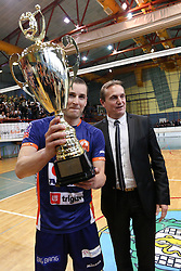 Metod Ropret, president of OZS, and Andrej Flajs of ACH Volley with trophy for first place after volleyball match between Calcit Volleyball and ACH Volley in Round #4 of Finals of 1. DOL Slovenian Championship 2014/15, on April 23, 2015 in Sportna Dvorana, Kamnik, Slovenia. Photo by Matic Klansek Velej / Sportida