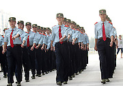 ZHENGZHOU, CHINA - SEPTEMBER 17: (CHINA OUT) <br /> <br /> Freshmen of airline stewardess in Zhengzhou Institute of Aeronautical Industry Management head bottles of mineral water for upright stand during military training on September 17, 2015 in Zhengzhou, Henan Province of China. More than 6,800 freshmen in the school are required to take part in the military training.<br /> ©Exclusivepix Media