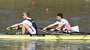 Caversham  Great Britain.<br /> GBLM2-, Bow Chris BARTLEY and Mark ALDRED, at the start of their run. 2016 GBR Rowing Team Olympic Trials GBR Rowing Training Centre, Nr Reading  England.<br /> <br /> Tuesday  22/03/2016 <br /> <br /> [Mandatory Credit; Peter Spurrier/Intersport-images]