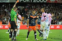 FOOTBALL - FRENCH CHAMPIONSHIP 2011/2012 - L1 - MONTPELLIER HSC v EVIAN TG - 1/05/2012 - PHOTO SYLVAIN THOMAS / DPPI - YOUNES BELHANDA (MHSC) RED CARD