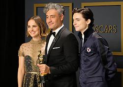 92nd Annual Academy Awards Oscar Ceremony - Press Room. 09 Feb 2020 Pictured: Natalie Portman, Taika Waititi, Timothée Chalamet. Photo credit: Jen Lowery / MEGA TheMegaAgency.com +1 888 505 6342