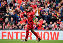 Liverpool's Djibril Cisse celebrates scoring his side's second goal of the game during the Legends match at Anfield Stadium, Liverpool.