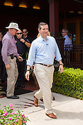 U.S. Senator and GOP presidential candidate Ted Cruz leaves a campaign event at the Liberty Tap Room restaurant August 7, 2015 in Mt Pleasant, South Carolina. The event was the kick off event of a seven-day bus tour called the Cruz Country Bus Tour of southern states.