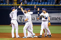June 7, 2017 - St. Petersburg, Florida, U.S. - WILL VRAGOVIC       Times.Tampa Bay Rays first baseman Logan Morrison (7) high fives Tampa Bay Rays right fielder Steven Souza Jr. (20) after the game between the Tampa Bay Rays and the Chicago White Sox at Tropicana Field in St. Petersburg, Fla. on Wednesday, June 7, 2017. The Tampa Bay Rays beat the Chicago White Sox 3-1. (Credit Image: © Will Vragovic/Tampa Bay Times via ZUMA Wire)