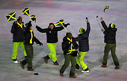 Jamaica athletes during the Opening Ceremony of the PyeongChang 2018 Winter Olympic Games at the PyeongChang Olympic Stadium in South Korea. PRESS ASSOCIATION Photo. Picture date: Friday February 9, 2018. See PA story OLYMPICS Ceremony. Photo credit should read: David Davies/PA Wire. RESTRICTIONS: Editorial use only. No commercial use