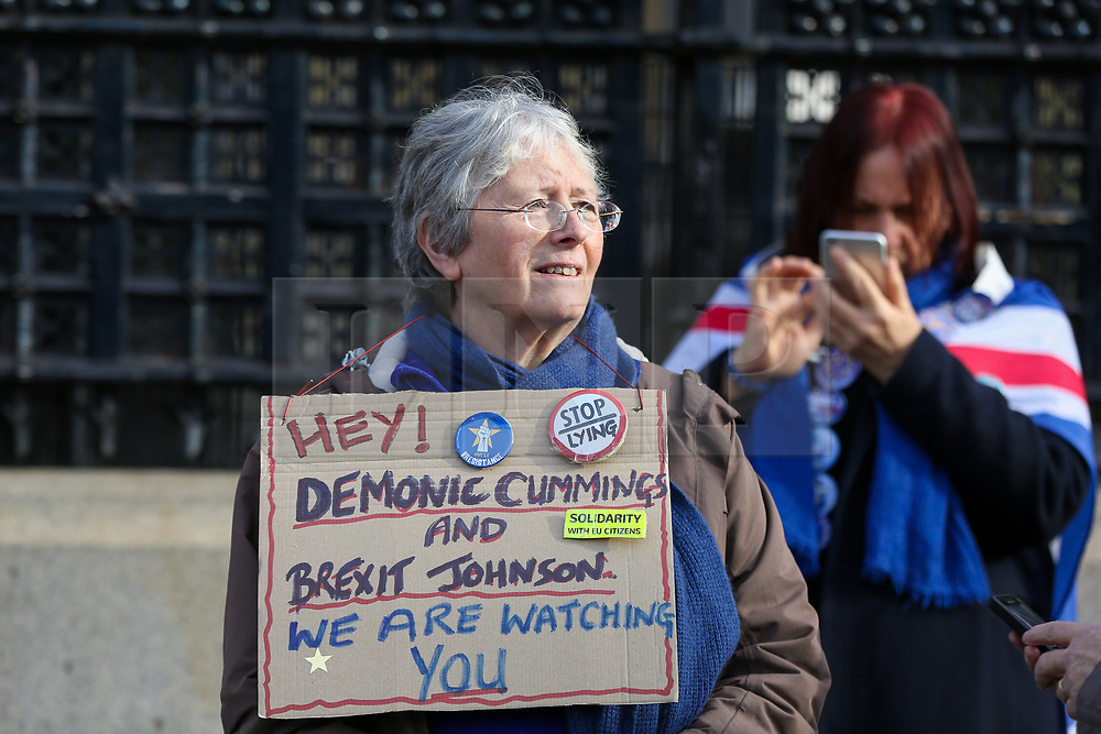 © Licensed to London News Pictures. 05/02/2020. London, UK. A Pro-European Union campaigner continues protesting outside Houses of Parliament despite of UK leaving the European Union on 31 January 2020. Photo credit: Dinendra Haria/LNP