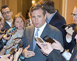 July 13, 2017 - Washington, District of Columbia, United States of America - United States Senator Ted Cruz (Republican of Texas) speaks to reporters in the US Capitol after the release of the newest GOP version of the bill to repeal and replace Obamacare in the US Capitol in Washington, DC on Thursday, July 13, 2017.  Senator Cruz' amendment to allow insurance companies to sell low cost policies that are not compliant with the Obamacare mandates is part of the latest version of the bill..Credit: Ron Sachs / CNP (Credit Image: © Ron Sachs/CNP via ZUMA Wire)
