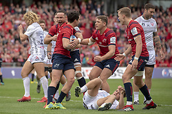 October 20, 2018 - Limerick, Ireland - Joey Carbery of Munster celebrates his scoring during the Heineken Champions Cup match between Munster Rugby and Gloucester Rugby at Thomond Park in Limerick, Ireland on October 20, 2018  (Credit Image: © Andrew Surma/NurPhoto via ZUMA Press)