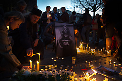 October 8, 2018 - Sofia, Bulgaria - People light candles during a vigil for murder victim Viktoria Marinova. Marinova, 30, is a Bulgarian journalist who was raped and killed Saturday in a case that has sent shock waves through Europe. She has reported on the possible misuse of European Union funds in Bulgaria. (Credit Image: © Jodi Hilton/NurPhoto/ZUMA Press)