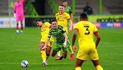 Josh Gordon of Walsall fouls Liam Kitching of Forest Green Rovers- Mandatory by-line: Nizaam Jones/JMP - 03/10/2020 - FOOTBALL - the innocent [insert name here] stadium - Nailsworth, England - Forest Green Rovers v Walsall - Sky Bet League Two