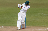 Hassan Azad pulls a ball for 4 during Day 3 of the LV= Insurance County Championship match between Leicestershire County Cricket Club and Hampshire County Cricket Club at the Uptonsteel County Ground, Leicester, United Kingdom on 10 April 2021.