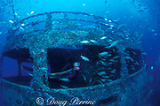 diver explores wreck of the Mercedes several years after sinking as artificial reef in Ft. Lauderdale, after highly publicized grounding in Palm Beach, Florida ( Western Atlantic Ocean )  MR 99