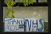 A message of support for the NHS in a window. The 'lockdown' continues in Clapham - Coronavirus (Covid 19) outbreak in London.