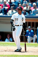 CHICAGO - 2002:  Frank Thomas of the Chicago White Sox bats during an MLB game at Comiskey Park in Chicago, Illinois.  Thomas played for the White Sox from 1990-2005.  (Photo by Ron Vesely)