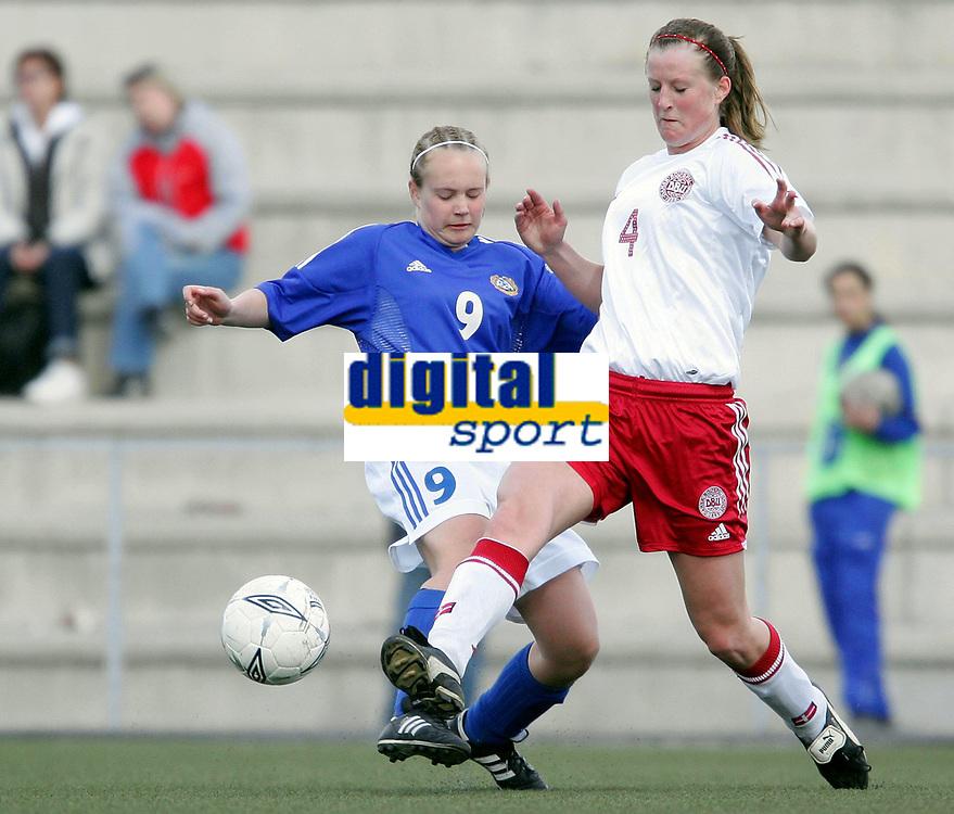 Fotball<br /> Four Nations Tournament Female U17<br /> 3rd place match<br /> Finland v Denmark 2-0 / Finland v Danmark 2-0<br /> 14.05.2006<br /> Foto: Morten Olsen, Digitalsport<br /> <br /> Tiia Tikkanen - SCR / FIN<br /> Malene Berg Hansen / DEN