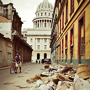 A pile of garbage dumped on the side of the road just down from the Capitolio in Havana, Cuba.