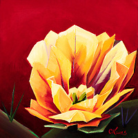 SOLD<br /> The prickly pear bloom is one of the iconic blossoms of the American Southwest desert.<br /> 10 x 10, oil on canvas.