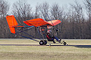 Middletown, New York - The pilot of an experimental aircraft taxis on a runway at  Randall Airport on April 12, 2014. The MX II Sprint ultralight is powered by a four-cycle engine.