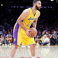 11 April 2014: Los Angeles Lakers guard Kendall Marshall (12) looks to pass the ball during the Golden State Warriors 112-95 victory over the Los Angeles Lakers at the Staples Center, Los Angeles, California, USA.