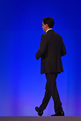 © Licensed to London News Pictures. 30/09/2012. Manchester, UK . Ed Miliband walks across the stage in the conference hall . Labour Party Conference Day 1 at Manchester Central . Photo credit : Joel Goodman/LNP
